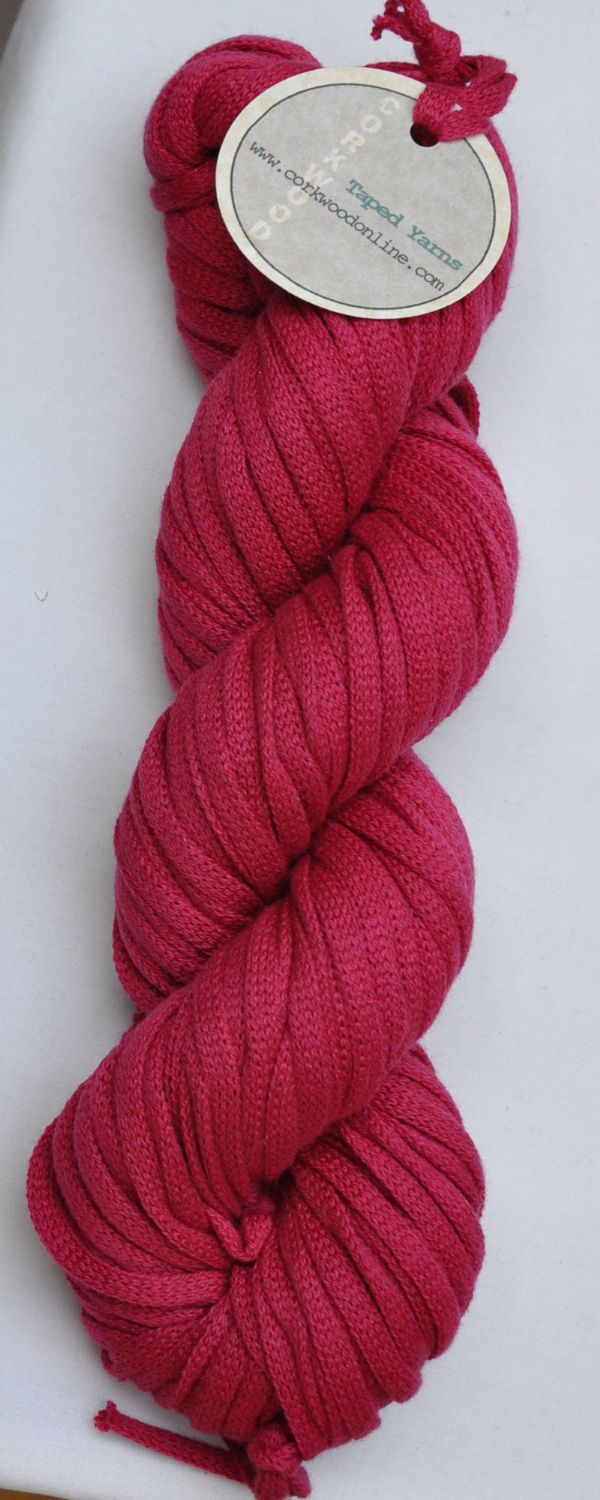 Lipstick pink cotton Chunky Tape yarn for knitting weaving and embellishing
